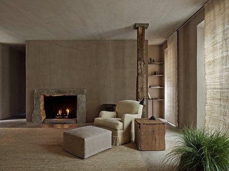 Habitacion del hotel Greenwich Hotel Tribeca Penthouse, estilo natural japonés Wabi Sabi.