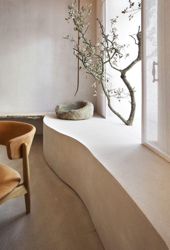 Elemento natural ubicado en un hogar con estilo Wabi Sabi.