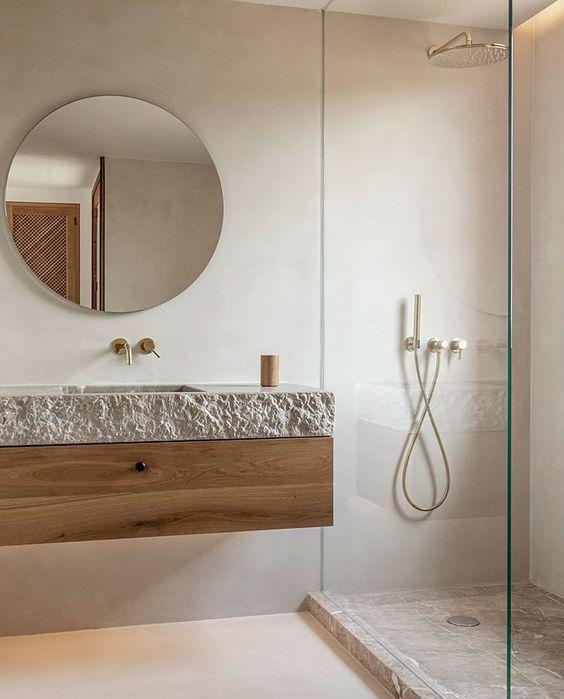 Un ejemplo de como decorar el baño de tu hogar al estilo Wabi Sabi.