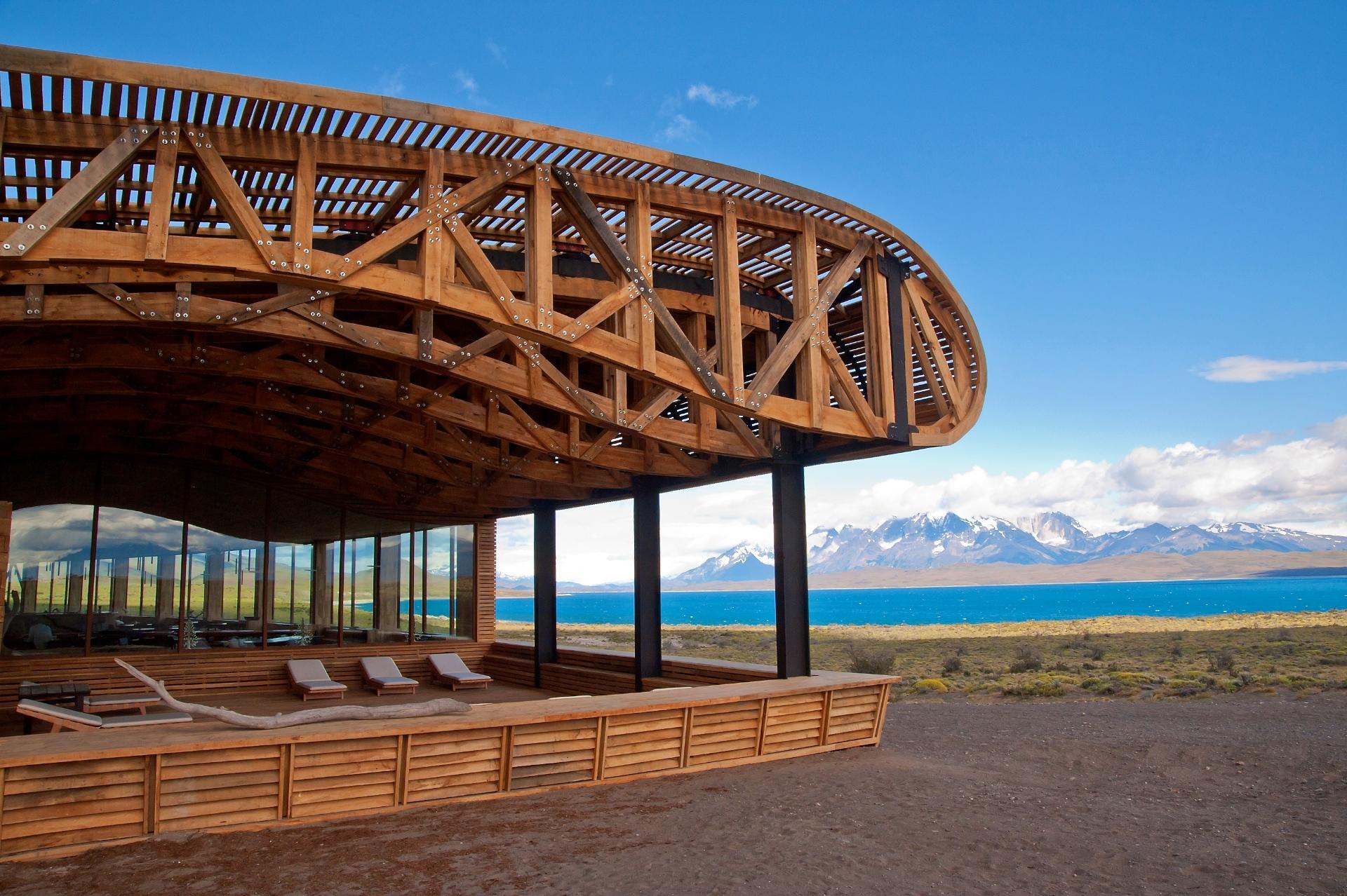 La azotea que se encuentra en la parte de abajo del Hotel Tierra Patagonia